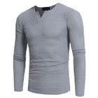 Long Sleeve V-Neck Rib Knit Top 1596