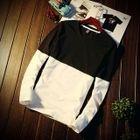 Two-Tone V-Neck Long-Sleeve T-Shirt 1596