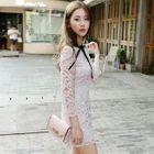 Short-Sleeve / 3/4-Sleeve Lace A-Line Mini Dress 1596