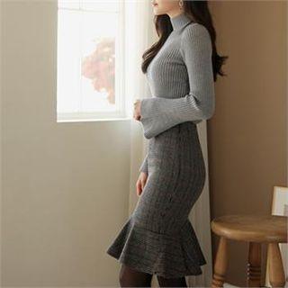Dresses & Skirts Ruffle-Hem Houndstooth Skirt