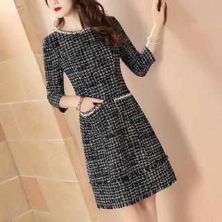 Image of 3/4-Sleeve A-Line Tweed Dress