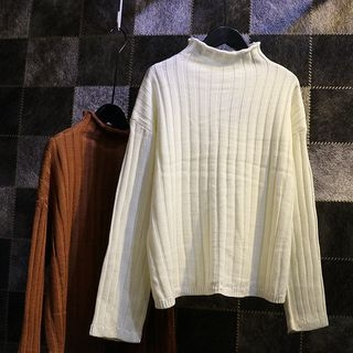 Mock Neck Ribbed Sweater 1053962950