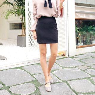 Elastic-Waist Pencil Skirt