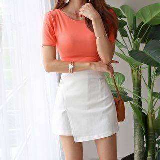 Asymmetric-Hem A-Line Mini Skirt