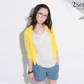 Buy Celli Girl Set: 3/4-Sleeve Knit Cardigan + Cuffed Hem Linen Shorts 1023048189