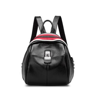 Colour Block Genuine Leather Backpack