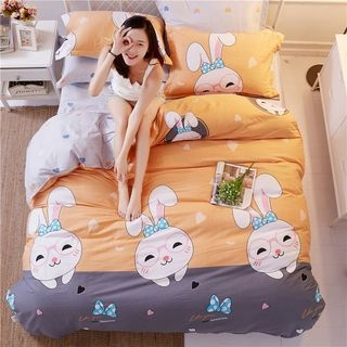 Rabbit Print Bedding Set: Bed Sheet + Duvet Cover + Pillow Cases 1063601788