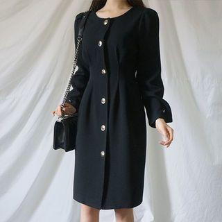 Round-Neck Pintuck-Waist Midi Dress 1064202607