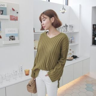 V-Neck Wide-Sleeve Ribbed Sweater 1053871988