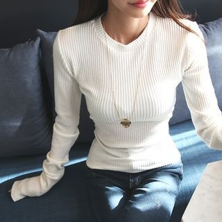 Long-Sleeve Ribbed Slim-Fit T-Shirt 1056073144