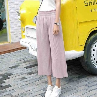 Pleated Wide Leg Cropped Pants 1061114268