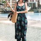 Sleeveless Leaf Print A-Line Midi Dress 1596