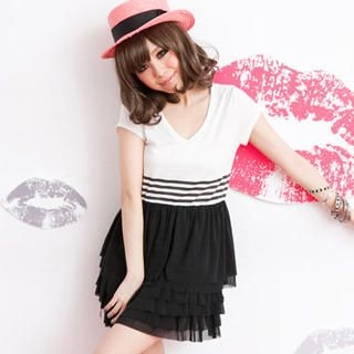 Picture of ZOO V-Neck Layered Panel Dress 1023047208 (ZOO Dresses, Womens Dresses, Taiwan Dresses)