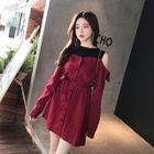 Long-Sleeve Cutout Shoulder Panel Dress 1596