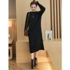 Plain Ribbed Knit Midi Dress 1596