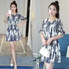 Printed Elbow Sleeve Dress 1596