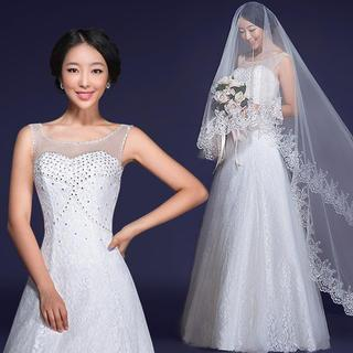 Diamante Sleeveless A-Line Lace Wedding Dress 1037350345