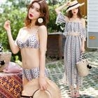 Set: Bikini + Print Top + Wide-Leg Pants 1596