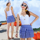 Set: Striped Tankini + Cover-Up Skirt 1596