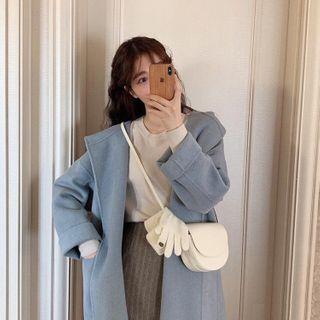 Image of Plain Woolen Long Coat / Long-Sleeve Plain Knit Top / High-Waist Plain Knit Skirt