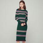 Frilled-Trim Striped Knit Dress 1596