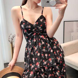 Image of Flower Print Midi Spaghetti Strap A-Line Dress