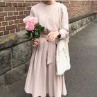 Pleated Long-Sleeve Dress 1596