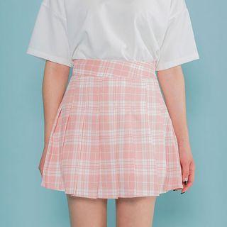 Plaid Pleated Mini Skirt 1060485527