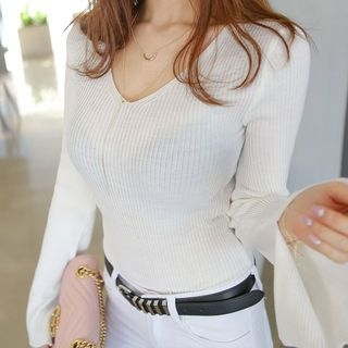 V-Neck Bell-Sleeve Ribbed Knit Top 1058314674