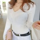 V-Neck Bell-Sleeve Ribbed Knit Top 1596