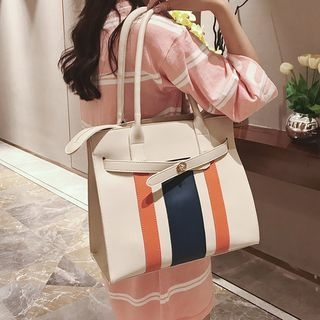 Striped Faux Leather Tote 1062561495