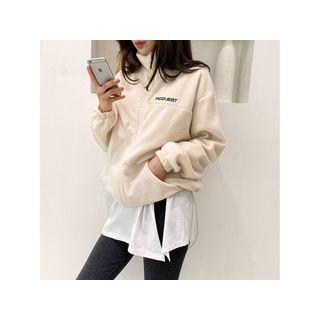 High-neck Polar-fleece Jacket Ivory - One Size