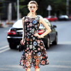 Sleeveless Tulle Floral Dress 1596