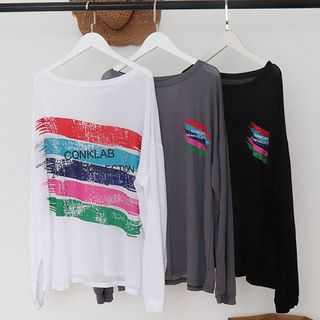 Image of Lettering Round Neck Long-Sleeve T-Shirt Black - One Size