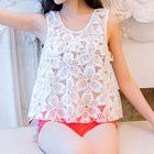 Set: Printed Ruffle Bikini Top + Swimshorts + Lace Cover-Up 1596