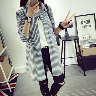 pinstripe-long-sleeve-long-blouse