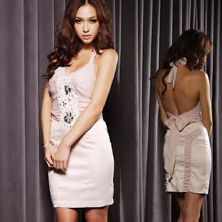 Buy Joanne Kitten Jeweled Ruched Halter Party Dress 1022567643