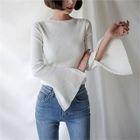 Slit-Sleeve Slim-Fit Ribbed Top 1596