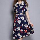 Short-Sleeve Floral Midi Dress 1596