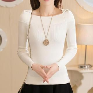 Boat-Neck Knit Top 1042548470