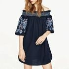 Floral Embroidered Collar Sheath Dress 1596
