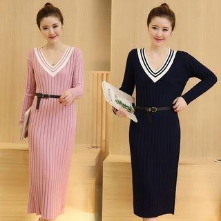 V-Neck Ribbed Knit Dress 1053027369