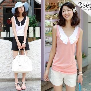 Buy Celli Girl Set: Contrast Collar Sleeveless Top + Shorts (2 Designs) 1023064778