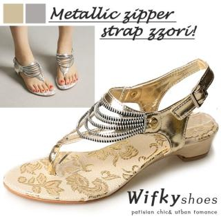 Picture of Wifky Zip Strappy Thong Sandals 1022915804 (Sandals, Wifky Shoes, Korea Shoes, Womens Shoes, Womens Sandals)