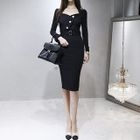 Long-Sleeve Belted Buttoned Sheath Dress 1596
