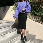 Ribbed Knit Midi Skirt 1596