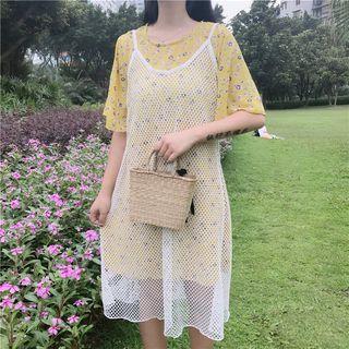 Set: Floral Print Short-Sleeve A-Line Dress + Mesh Strappy Dress 1060454645