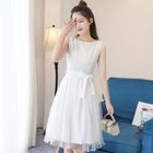 Sleeveless Tie-Waist Tulle Dress 1596