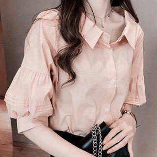 Image of Puff-Sleeve Babydoll Shirt