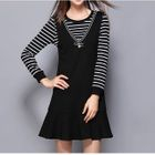 Set: Striped Long Sleeve T-Shirt + Pinafore Dress 1596